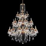 "Alexandria Collection 30-Light 45"" Gold Chandelier with Green Glass and Clear  Swarovski Strass Crystal 7810G45GN/SS"