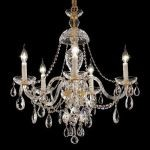 "Alexandria Collection 5-Light 25"" Gold Chandelier with Clear  Swarovski Strass Crystal 7829D25G/SS"