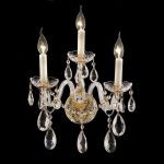 "Alexandria Collection 3-Light 13"" Gold Wall Sconce with Clear  Swarovski Strass Crystal 7829W3G/SS"