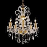 "Elizabeth Collection 5-Light 25"" Gold Chandelier with Clear  Swarovski Strass Crystal 7830D25G/SS"