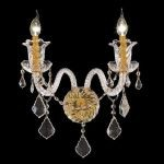 "Elizabeth Collection 2-Light 15"" Gold Wall Sconce with Clear  Swarovski Strass Crystal 7830W2G/SS"