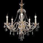 "Alexandria Collection 5-Light 25"" Gold Chandelier with Clear  Swarovski Strass Crystal 7831D25G/SS"