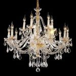 "Alexandria Collection 15-Light 35"" Gold Chandelier with Clear Swarovski Spectra Crystal 7831G35G/SA"