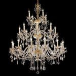 "Alexandria Collection 24-Light 45"" Gold Chandelier with Clear Swarovski Spectra Crystal 7831G45G/SA"