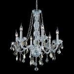 "Verona Collection 6-Light 24"" Chrome Chandelier with Golden Teak Smoky Royal Cut Crystal 7856D24C-GT/RC"
