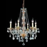 "Verona Collection 6-Light 24"" Golden Shadow Chandelier with Golden Shadow Champagne Royal Cut Crystal 7856D24GS-GS/RC"