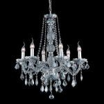 "Verona Collection 6-Light 24"" Gray Chandelier with Silver Shade Grey Royal Cut Crystal 7856D24SS-SS/RC"