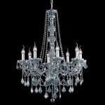 "Verona Collection 8-Light 28"" Gray Chandelier with Silver Shade Grey Royal Cut Crystal 7858D28SS-SS/RC"