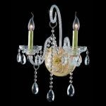 "Verona Collection 2-Light 14"" Gold Wall Sconce with Clear Swarovski Spectra Crystal 7952W2G/SA"
