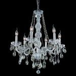 "Verona Collection 6-Light 24"" Chrome Chandelier with Golden Teak Smoky Royal Cut Crystal 7956D24C-GT/RC"