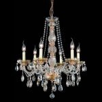 "Verona Collection 6-Light 24"" Golden Shadow Chandelier with Golden Shadow Champagne Royal Cut Crystal 7956D24GS-GS/RC"
