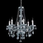 "Verona Collection 6-Light 24"" Gray Chandelier with Silver Shade Grey Royal Cut Crystal 7956D24SS-SS/RC"