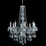 "Verona Collection 8-Light 28"" Gray Chandelier with Silver Shade Grey Royal Cut Crystal 7958D28SS-SS/RC"