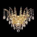 "Victoria Collection 3-Light 16"" Gold Wall Sconce with Clear  Swarovski Strass Crystal 8033W16G/SS"