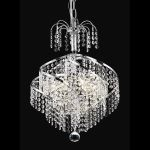 "Spiral Collection 3-Light 14"" Chrome Mini Chandelier with Clear  Swarovski Strass Crystal 8052D14C/SS"