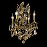 "Rosalia Collection 4-Light 17"" Antique Bronze Chandelier with Golden Teak Smoky Swarovski Strass Crystal 9204D17AB-GT/SS"