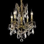 "Rosalia Collection 4-Light 17"" Antique Bronze Chandelier with Clear Elegant Cut Crystal 9204D17AB/EC"