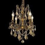 "Rosalia Collection 4-Light 17"" French Gold Chandelier with Golden Teak Smoky Swarovski Strass Crystal 9204D17FG-GT/SS"