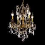 "Rosalia Collection 4-Light 17"" French Gold Chandelier with Clear Elegant Cut Crystal 9204D17FG/EC"