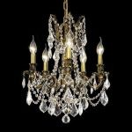 "Rosalia Collection 5-Light 18"" Antique Bronze Chandelier with Clear Elegant Cut Crystal 9205D18AB/EC"