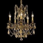 "Rosalia Collection 5-Light 18"" French Gold Chandelier with Golden Teak Smoky Swarovski Strass Crystal 9205D18FG-GT/SS"