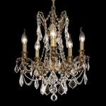 "Rosalia Collection 5-Light 18"" French Gold Chandelier with Clear Elegant Cut Crystal 9205D18FG/EC"