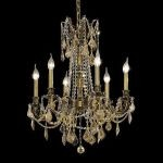 "Rosalia Collection 6-Light 23"" Antique Bronze Chandelier with Golden Teak Smoky Swarovski Strass Crystal 9206D23AB-GT/SS"