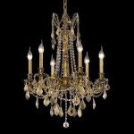 "Rosalia Collection 6-Light 23"" French Gold Chandelier with Golden Teak Smoky Swarovski Strass Crystal 9206D23FG-GT/SS"