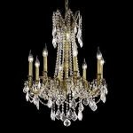 "Rosalia Collection 8-Light 24"" Antique Bronze Chandelier with Clear Elegant Cut Crystal 9208D24AB/EC"