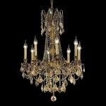 "Rosalia Collection 8-Light 24"" French Gold Chandelier with Golden Teak Smoky Swarovski Strass Crystal 9208D24FG-GT/SS"