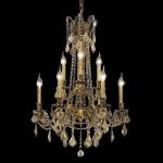 "Rosalia Collection 9-Light 23"" French Gold Chandelier with Golden Teak Smoky Swarovski Strass Crystal 9209D23FG-GT/SS"