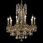 "Rosalia Collection 10-Light 28"" Antique Bronze Chandelier with Golden Teak Smoky Swarovski Strass Crystal 9210D28AB-GT/SS"