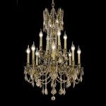 "Rosalia Collection 12-Light 24"" Antique Bronze Chandelier with Golden Teak Smoky Swarovski Strass Crystal 9212D24AB-GT/SS"