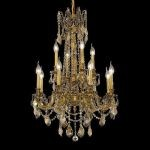 "Rosalia Collection 12-Light 24"" French Gold Chandelier with Golden Teak Smoky Swarovski Strass Crystal 9212D24FG-GT/SS"