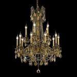 "Rosalia Collection 15-Light 28"" French Gold Chandelier with Golden Teak Smoky Swarovski Strass Crystal 9215D28FG-GT/SS"