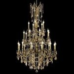 "Rosalia Collection 25-Light 38"" Antique Bronze Chandelier with Golden Teak Smoky Swarovski Strass Crystal 9225G38AB-GT/SS"