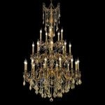 "Rosalia Collection 25-Light 38"" French Gold Chandelier with Golden Teak Smoky Swarovski Strass Crystal 9225G38FG-GT/SS"