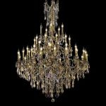 "Rosalia Collection 45-Light 54"" Antique Bronze Chandelier with Golden Teak Smoky Swarovski Strass Crystal 9245G54AB-GT/SS"