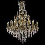 "Rosalia Collection 45-Light 54"" Antique Bronze Chandelier with Clear Elegant Cut Crystal 9245G54AB/EC"