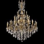 "Rosalia Collection 45-Light 54"" French Gold Chandelier with Clear Elegant Cut Crystal 9245G54FG/EC"