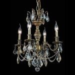 "Marseille Collection 4-Light 17"" Antique Bronze Chandelier with Golden Shadow Champagne Swarovski Strass Crystal 9504D17AB-GS/SS"