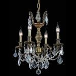 "Marseille Collection 4-Light 17"" Antique Bronze Chandelier with Clear Elegant Cut Crystal 9504D17AB/EC"