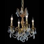 "Marseille Collection 4-Light 17"" French Gold Chandelier with Clear Elegant Cut Crystal 9504D17FG/EC"