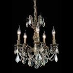 "Marseille Collection 5-Light 18"" Antique Bronze Chandelier with Golden Shadow Champagne Swarovski Strass Crystal 9505D18AB-GS/SS"