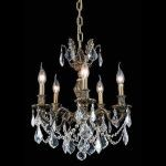 "Marseille Collection 5-Light 18"" Antique Bronze Chandelier with Clear Elegant Cut Crystal 9505D18AB/EC"