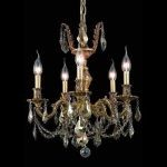 "Marseille Collection 5-Light 18"" French Gold Chandelier with Golden Teak Smoky Swarovski Strass Crystal 9505D18FG-GT/SS"
