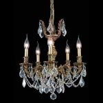 "Marseille Collection 5-Light 18"" French Gold Chandelier with Clear Elegant Cut Crystal 9505D18FG/EC"