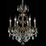 "Marseille Collection 6-Light 20"" Antique Bronze Chandelier with Clear Elegant Cut Crystal 9506D20AB/EC"