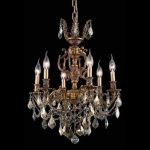 "Marseille Collection 6-Light 20"" French Gold Chandelier with Golden Teak Smoky Swarovski Strass Crystal 9506D20FG-GT/SS"