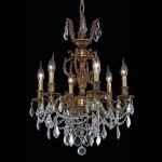 "Marseille Collection 6-Light 20"" French Gold Chandelier with Clear Elegant Cut Crystal 9506D20FG/EC"